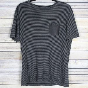 The Kooples Striped Leather Pocket Linen Tee
